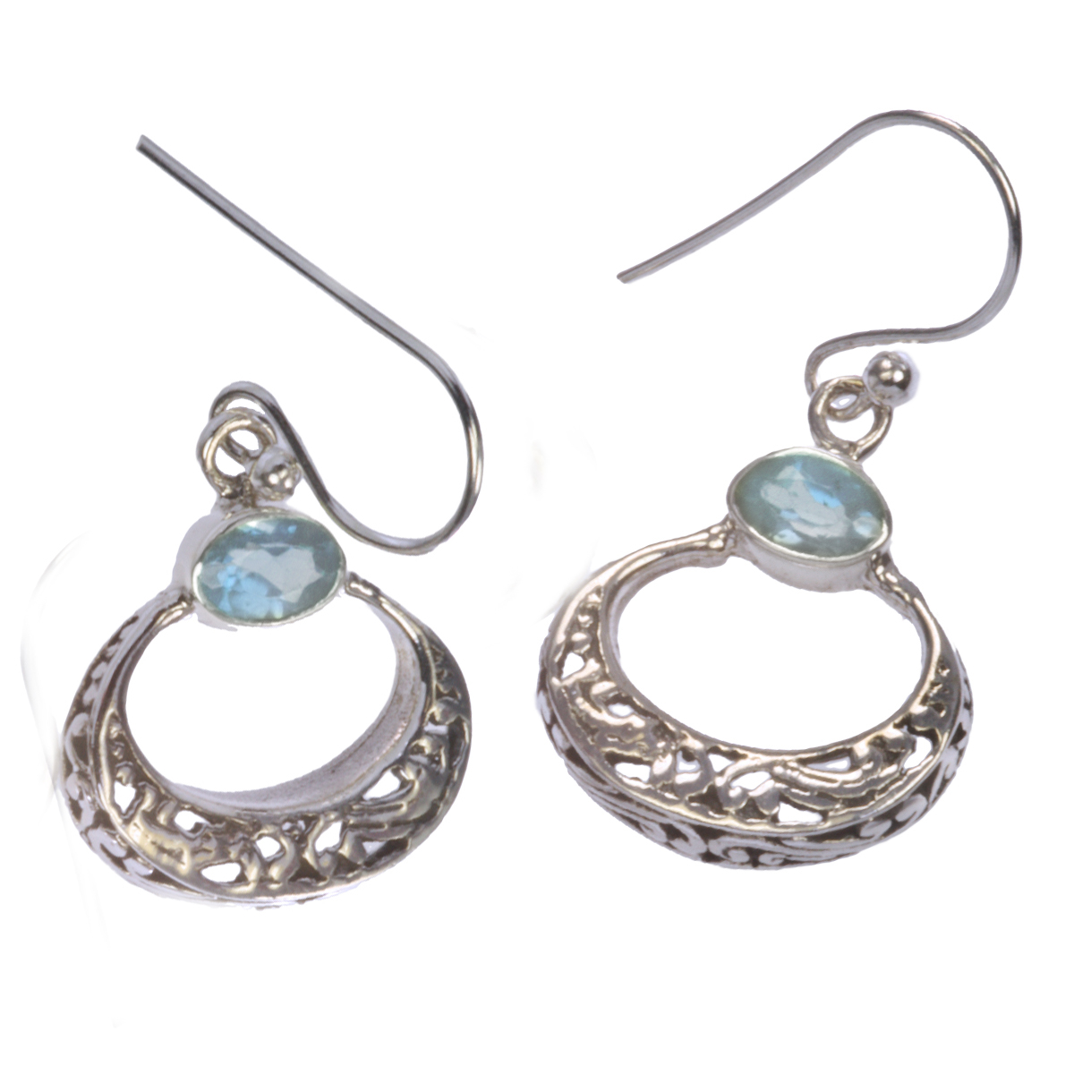 Sterling Silver Oval Curved Filigree Earrings